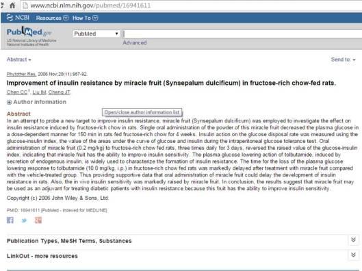 Synsepalum dulcificum-insulin resistance