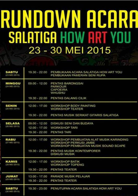 Rundown acara Salatiga How Art You 2015