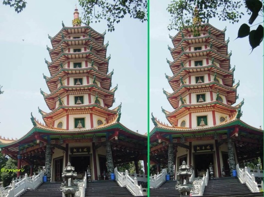 Pagoda Avalokitesvara berbingkai ranting bodhi